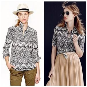 J Crew linen boy shirt in diamond ikat pattern 8